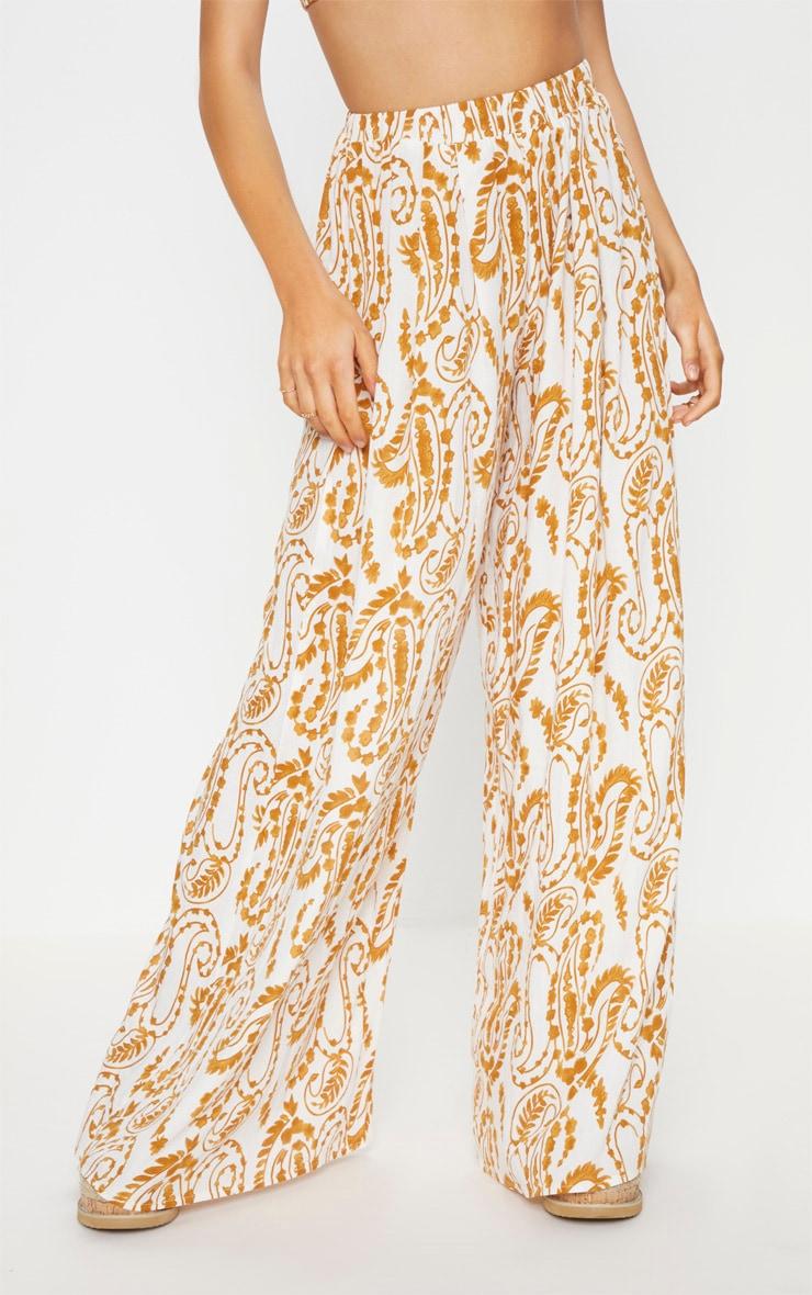 White Paisley Print Wide Leg Pants 2