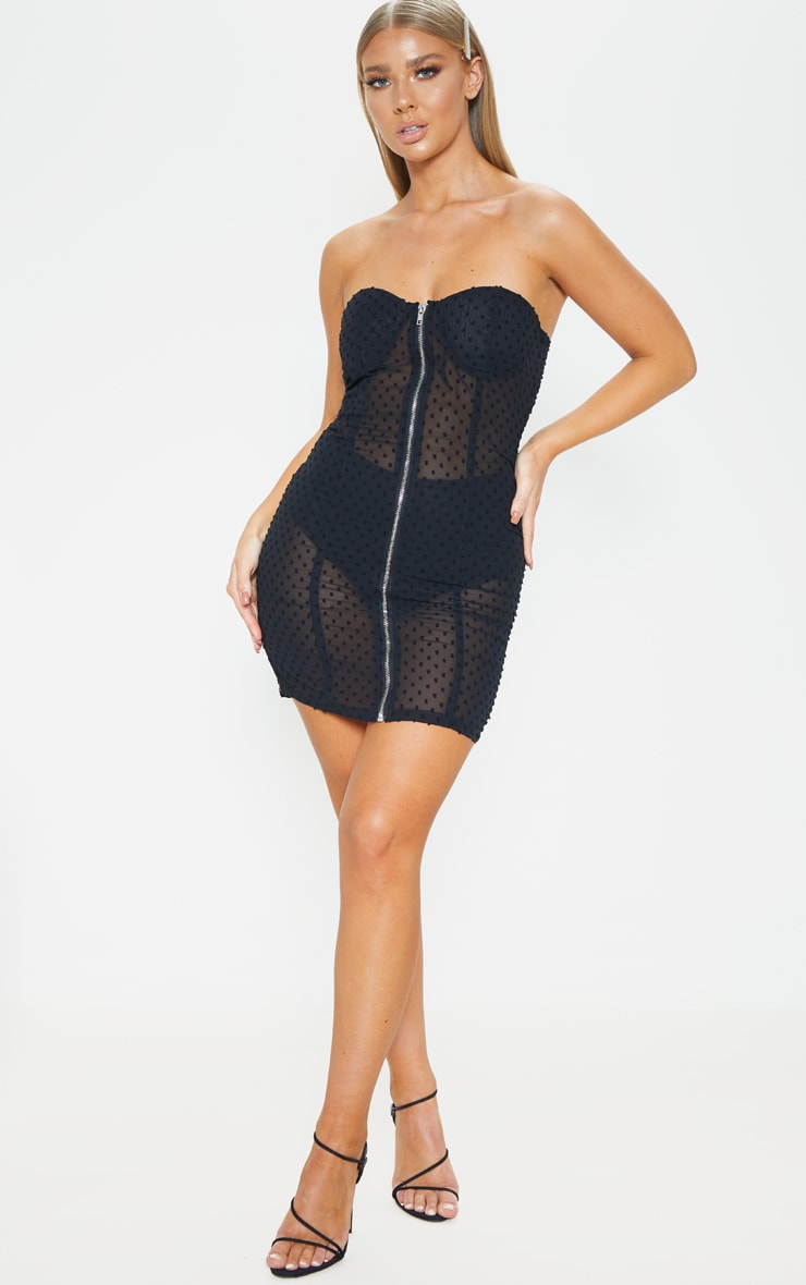 Black Dobby Mesh Bandeau Zip Detail Bodycon Dress 4
