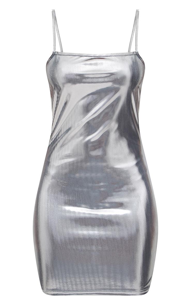 Petite Silver Square Neck Metallic Mini Dress 3