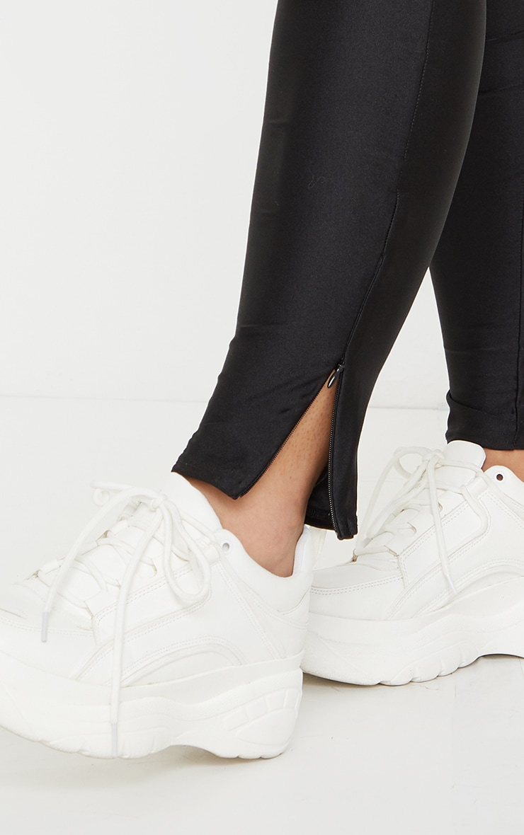 Plus Black Zip Hem Disco Leggings 4