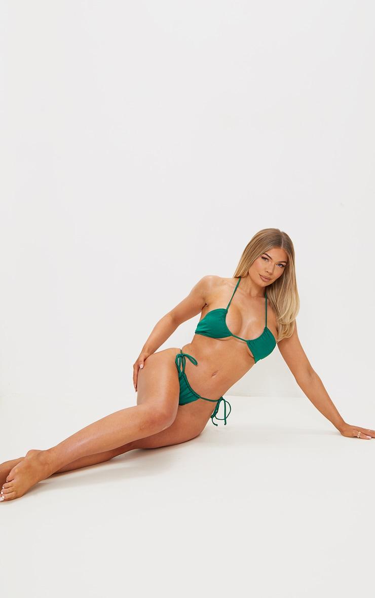Green Tie Back Adjustable Mini Bikini Top 4
