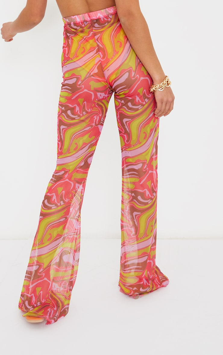 Petite Pink  Abstract Print Mesh High Waisted Flares 3