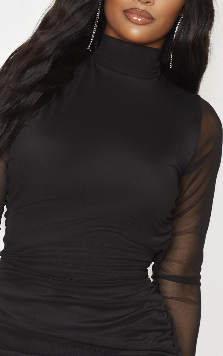 Shape - Robe moulante noire à manches longues 5