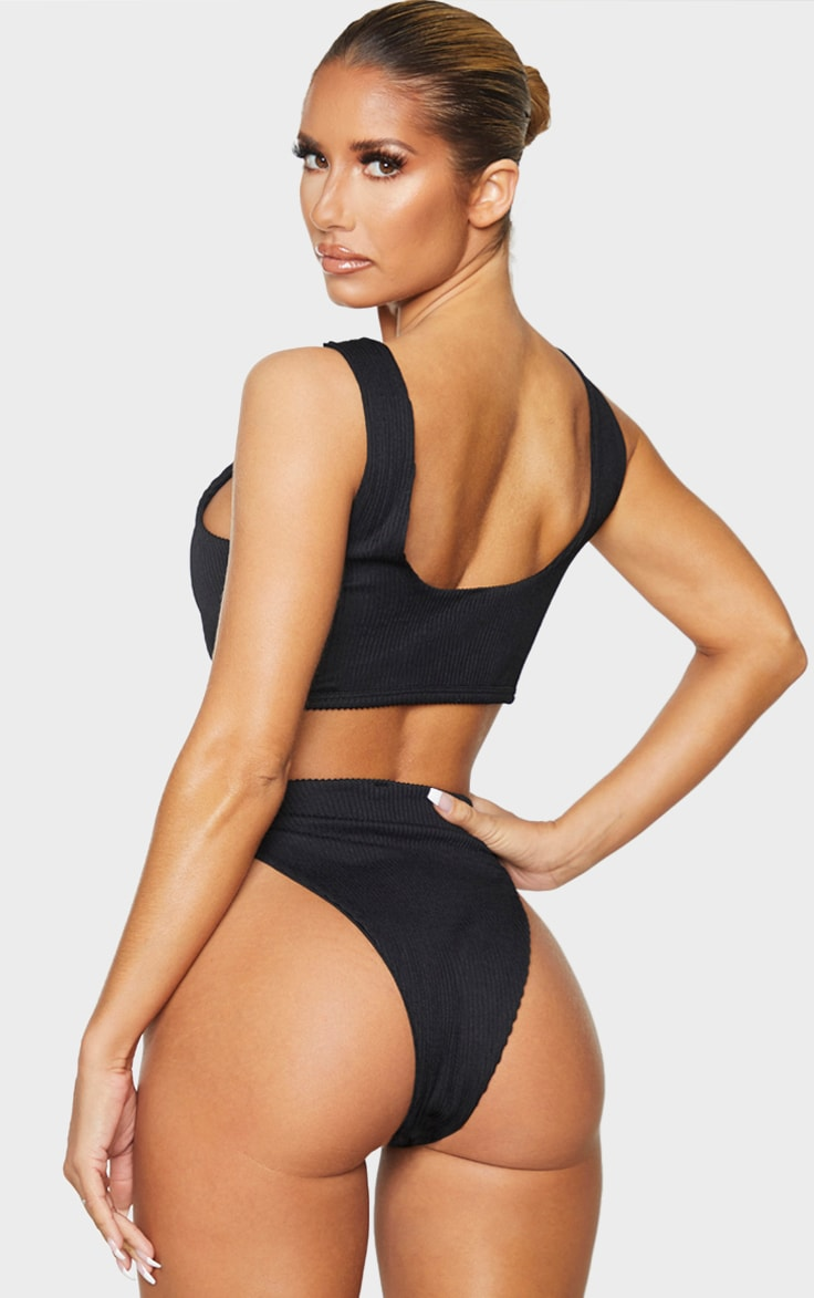 Black Ribbed Lace Up Bikini Top 2