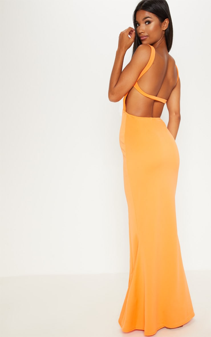 Tangerine Square Neck Backless Maxi Dress 1
