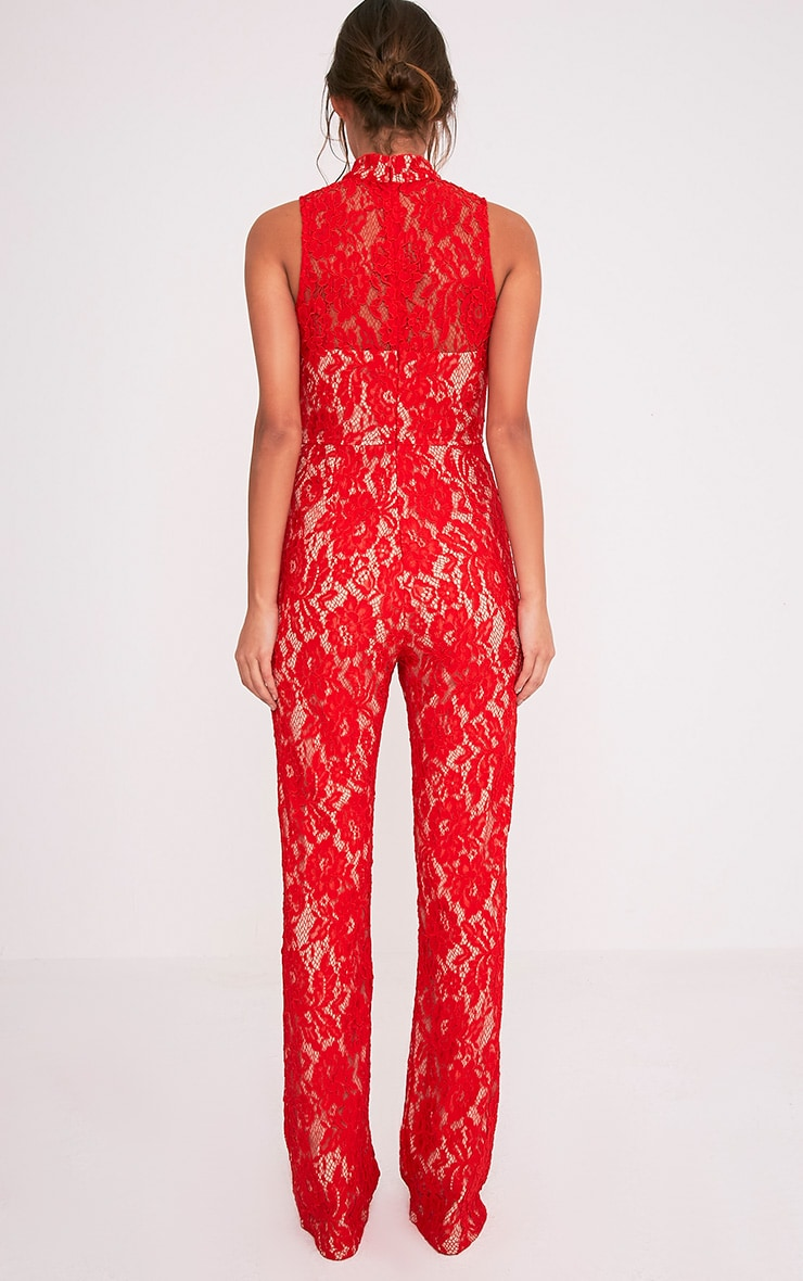 Zayan Red Lace Wide Leg Jumpsuit 2