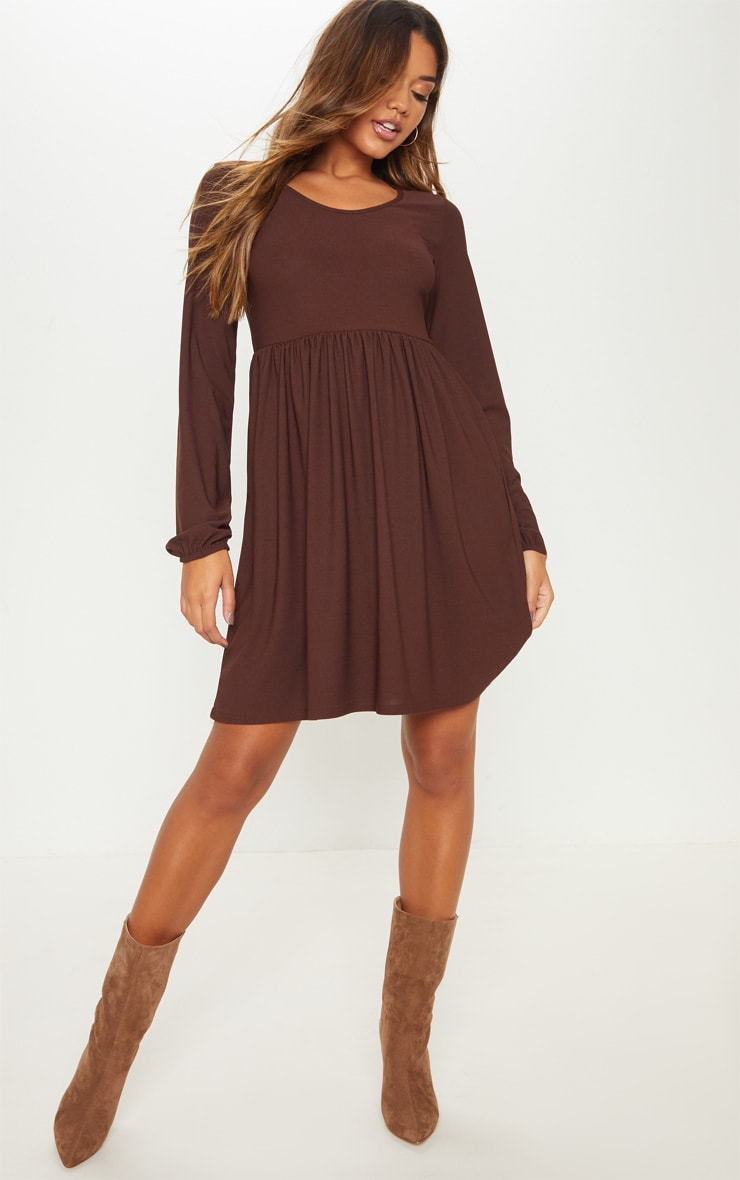 Chocolate Jersey Long Sleeve Scoop Neck Smock Dress