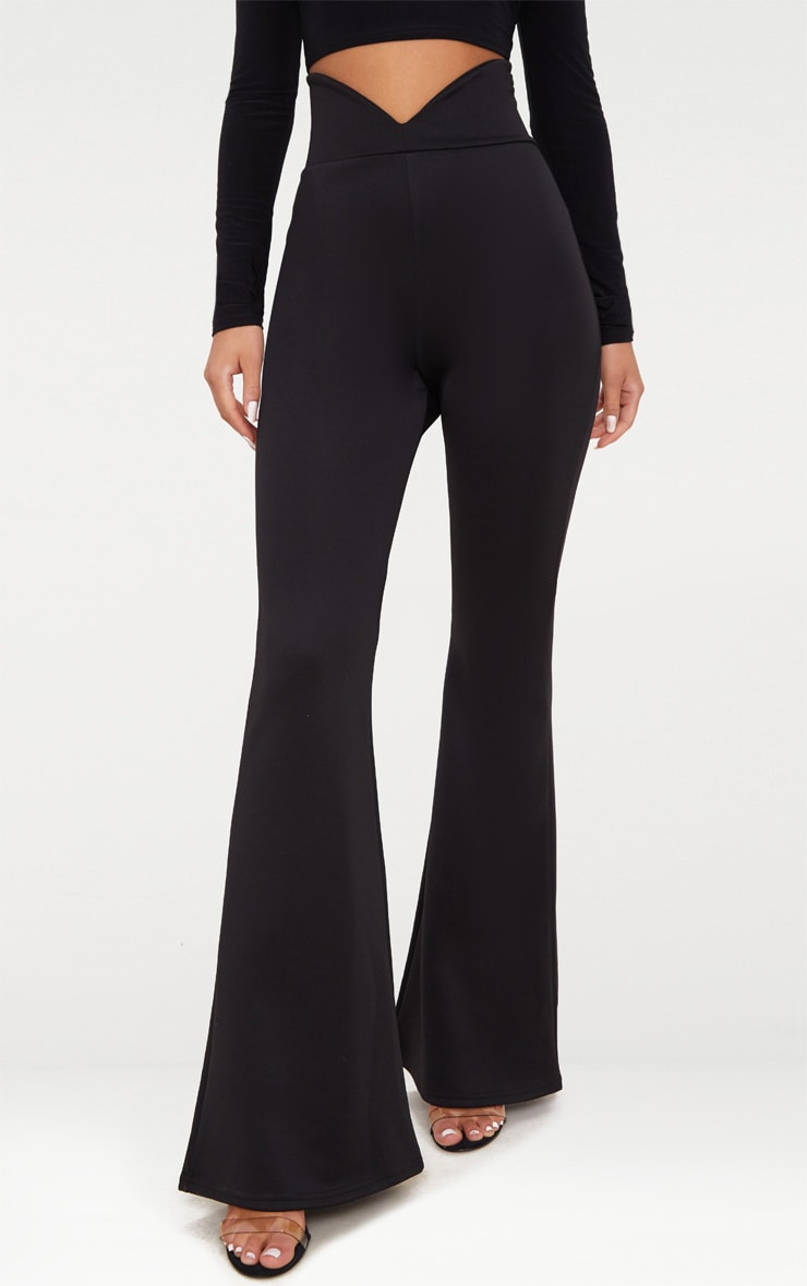 Black Scuba Curve Waist Band Detail Flared Pants  2