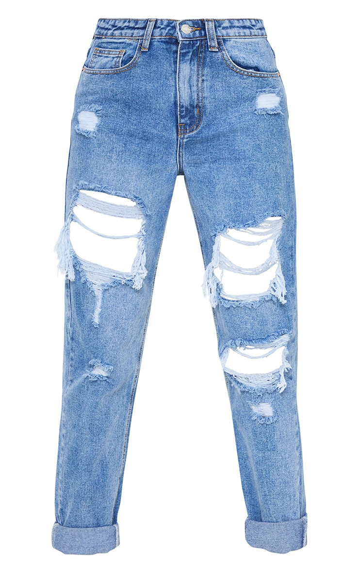 PRETTYLITTLETHING Tall Mid Blue Ripped Mom Jeans 5