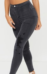 PRETTYLITTLETHING Washed Black Ripped Disco Skinny Jeans 4