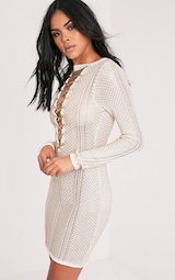3b2312d3f0 Venita White Premium Metallic Knit Lace Up Mini Dress - Knitwear ...