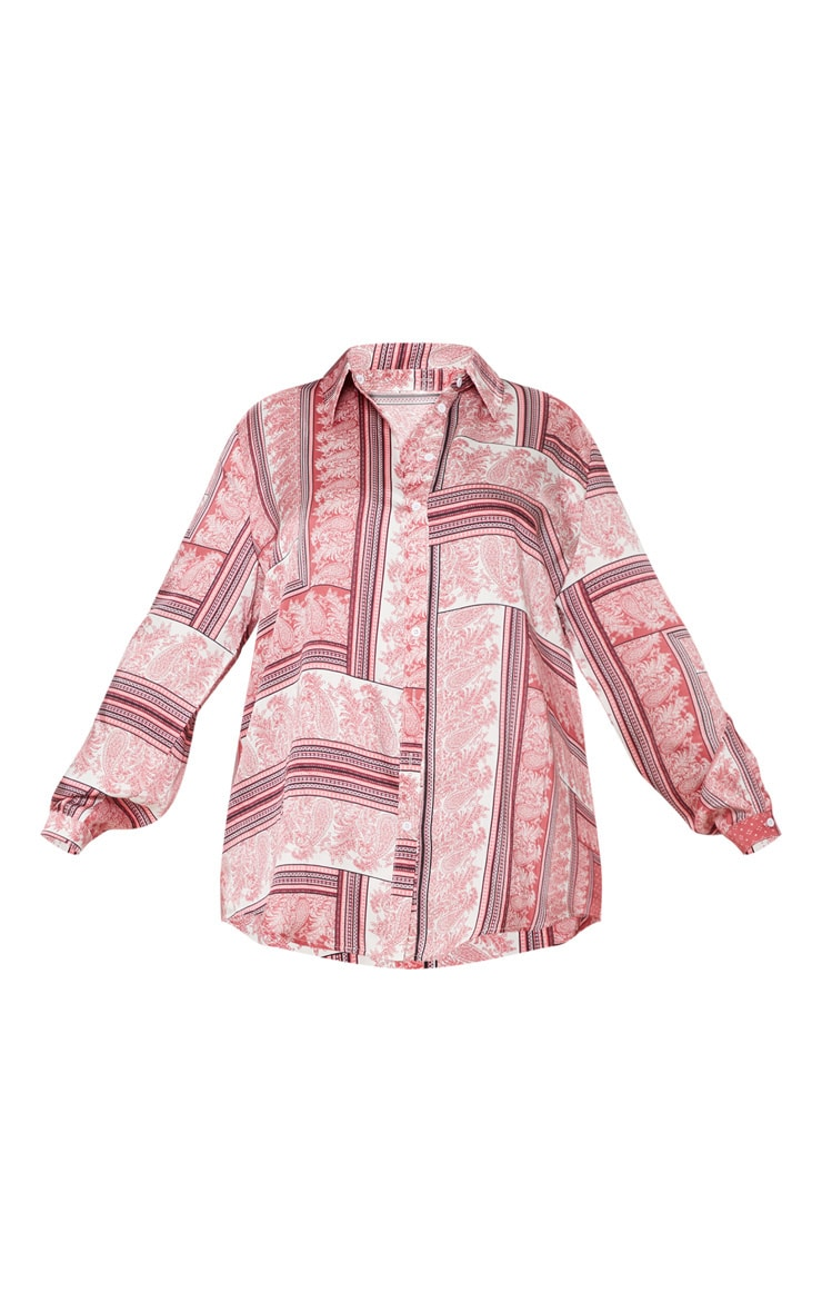 Plus Pink Scarf Print Oversized Shirt 3
