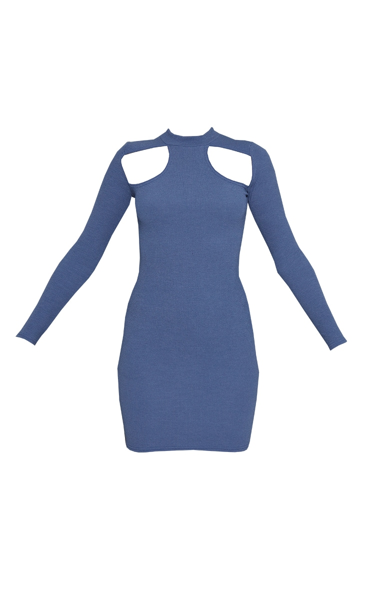 Charcoal Blue Washed Rib Cut Out Chest Detail Long Sleeve Bodycon Dress 5