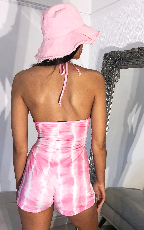 Pink Tie Dye Cowl Neck Playsuit 2