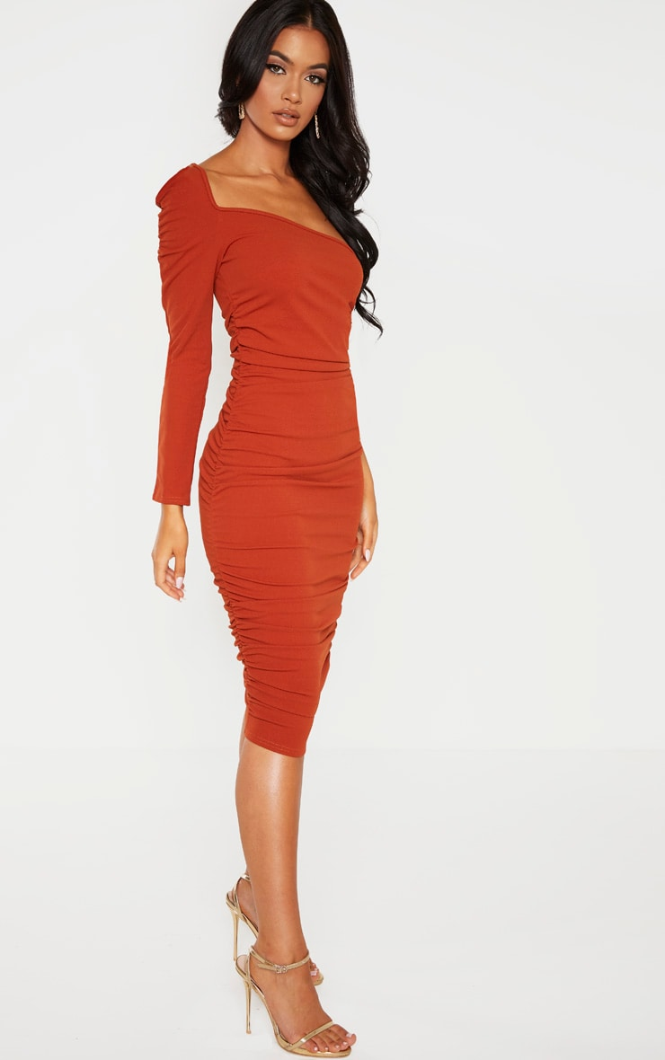 Rust One Shoulder Ruched Detail Midi Dress 4