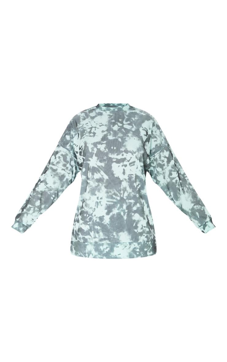 Turquoise Tie Dye Print Oversized Long Sleeve Sweater 5