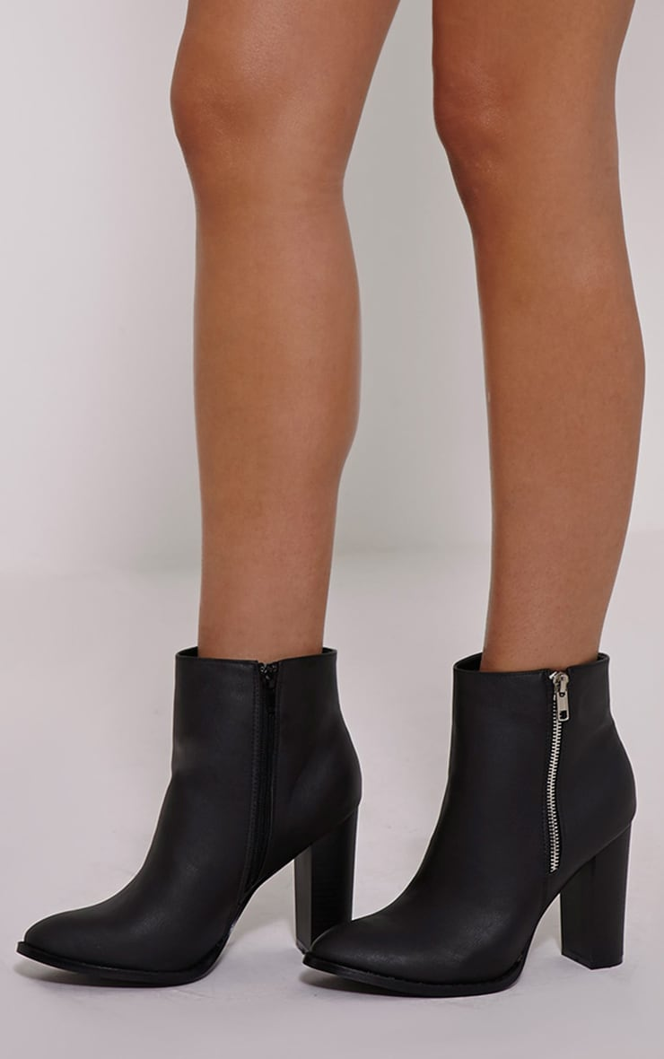 Langley Black PU Zip Detail Heeled Ankle Boots 1