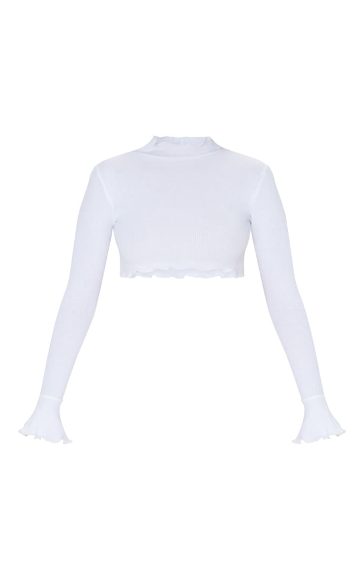 White Rib Frill Detail Long Sleeve Crop Top 3