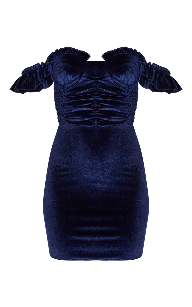 Navy Sleeveless Ruched Detail Bodycon Dress 3