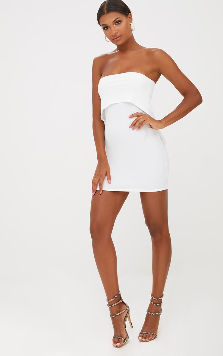 White Bandeau Overlay Bodycon Dress 3