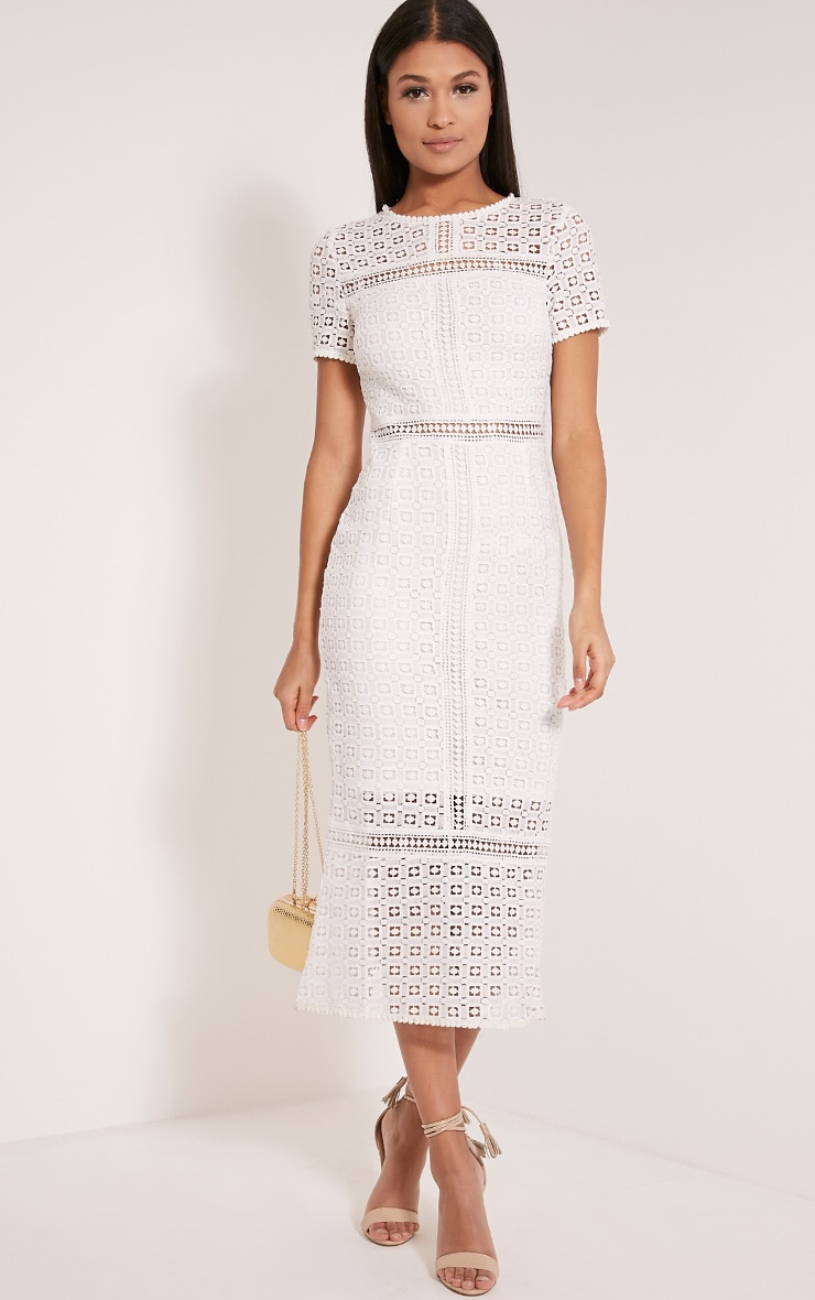 Midira White Crochet Lace Midi Dress 5