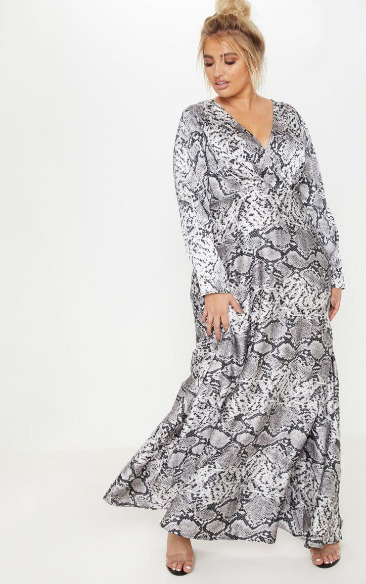 Plus Grey Snake Print Satin Dress   Plus Size   PrettyLittleThing USA