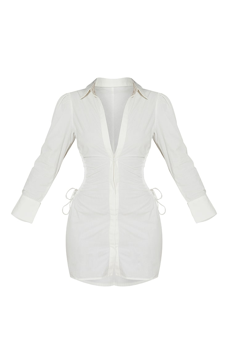 White Ruched Side Lace Up Detail Shirt Dress 5