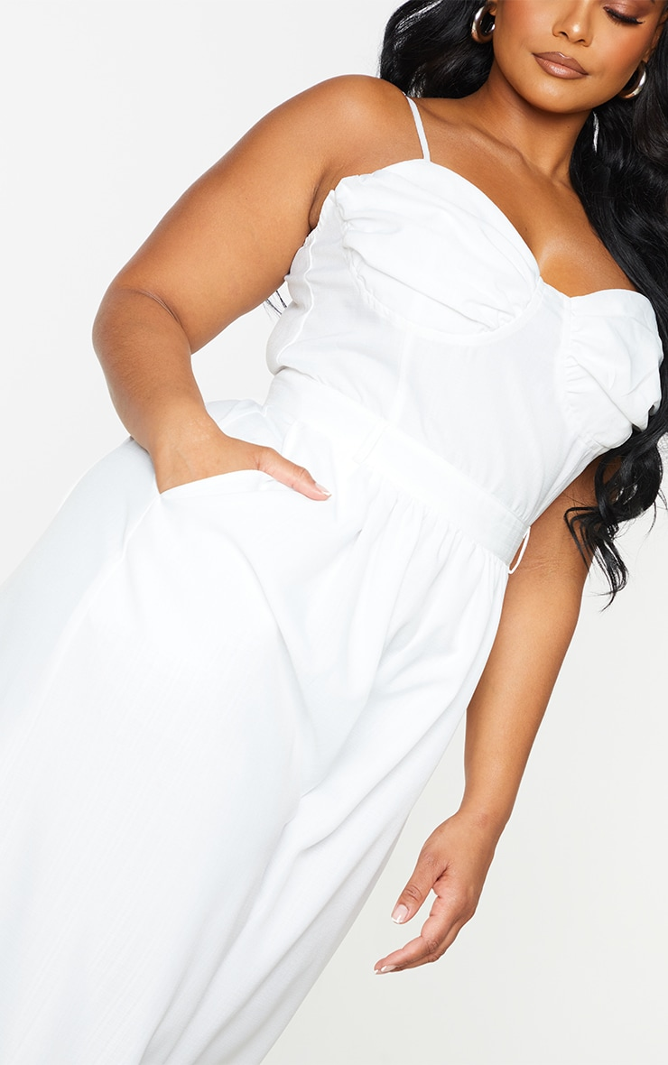 Plus White Ruched Cup Strappy Wide Leg Jumpsuit 4