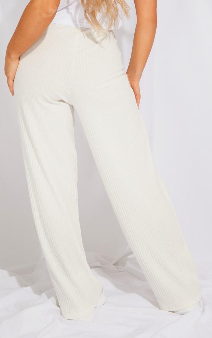 Cream Premium Ribbed Wide Leg Pants 3