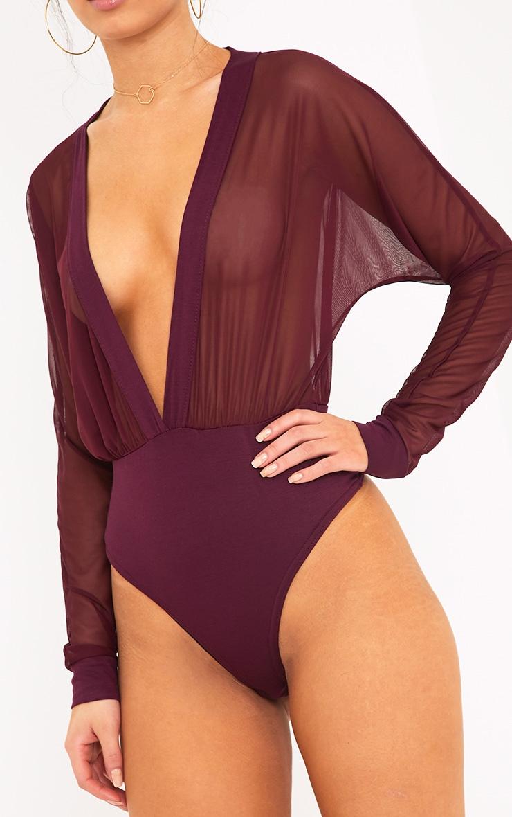 Yulia body-string en jersey à décolleté plongeant en tulle lie de vin 6