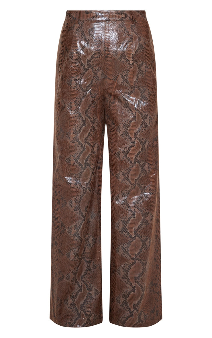 Dark Brown Faux Leather Snakeskin Wide Leg Pants 3