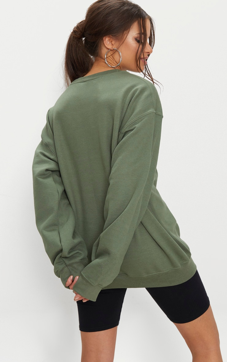 PRETTYLITTLETHING Khaki Embroidered Oversized Sweater 2