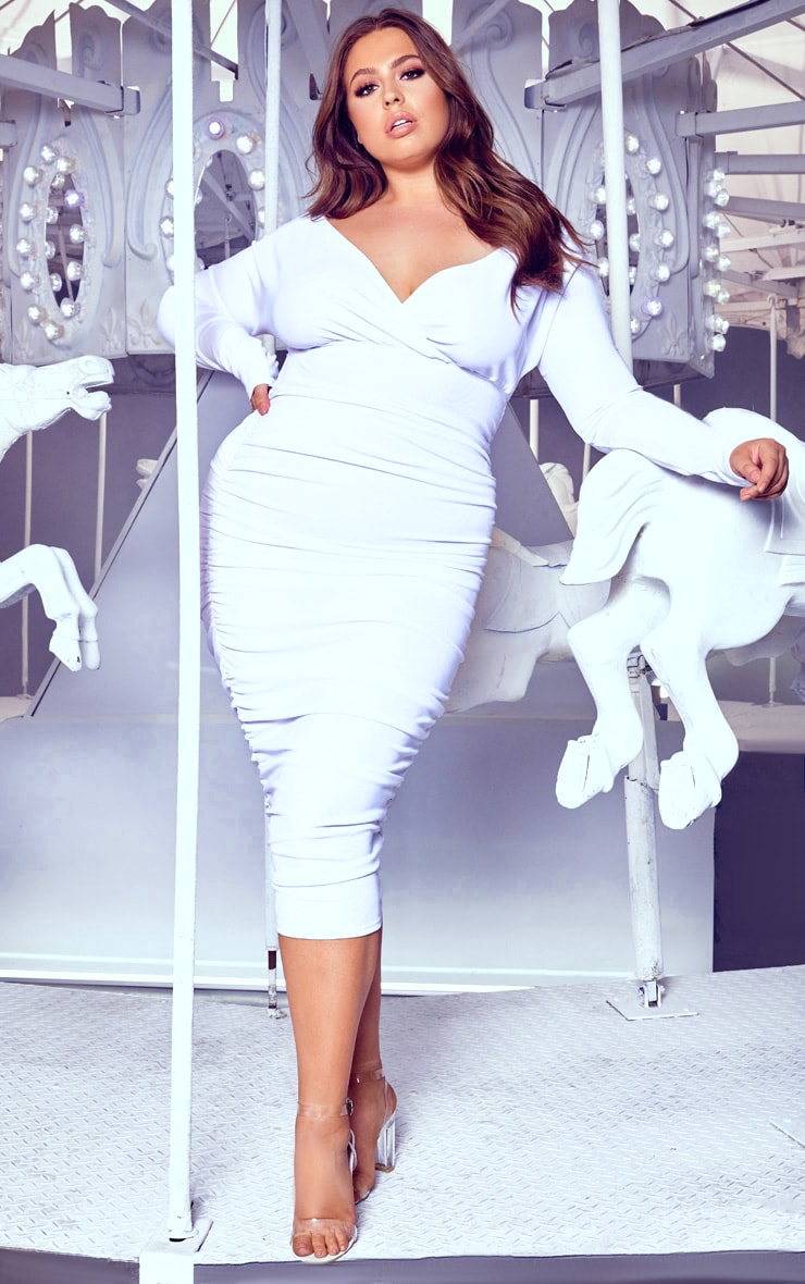 Plus White Ruched Rib Bardot Midi Dress