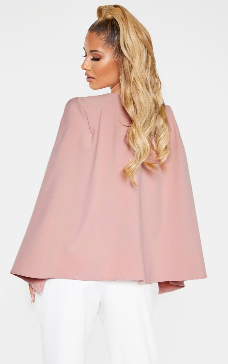 Dusty Pink Crepe Belted Cape Blazer 2