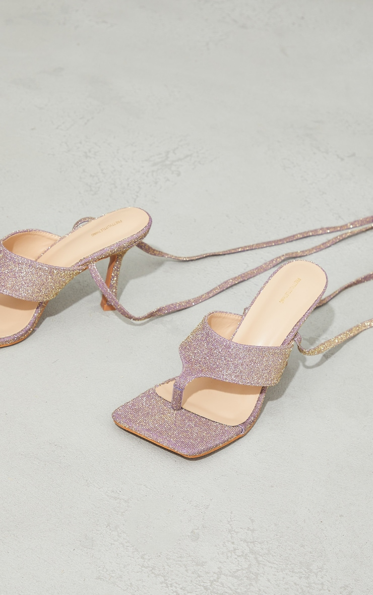 Purple Glitter Square Lace Up Toe Thong Heeled Sandals 4