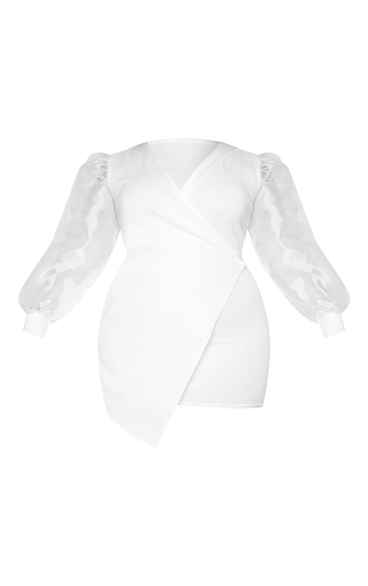 Plus White Organza Sleeve Wrap Dress 5