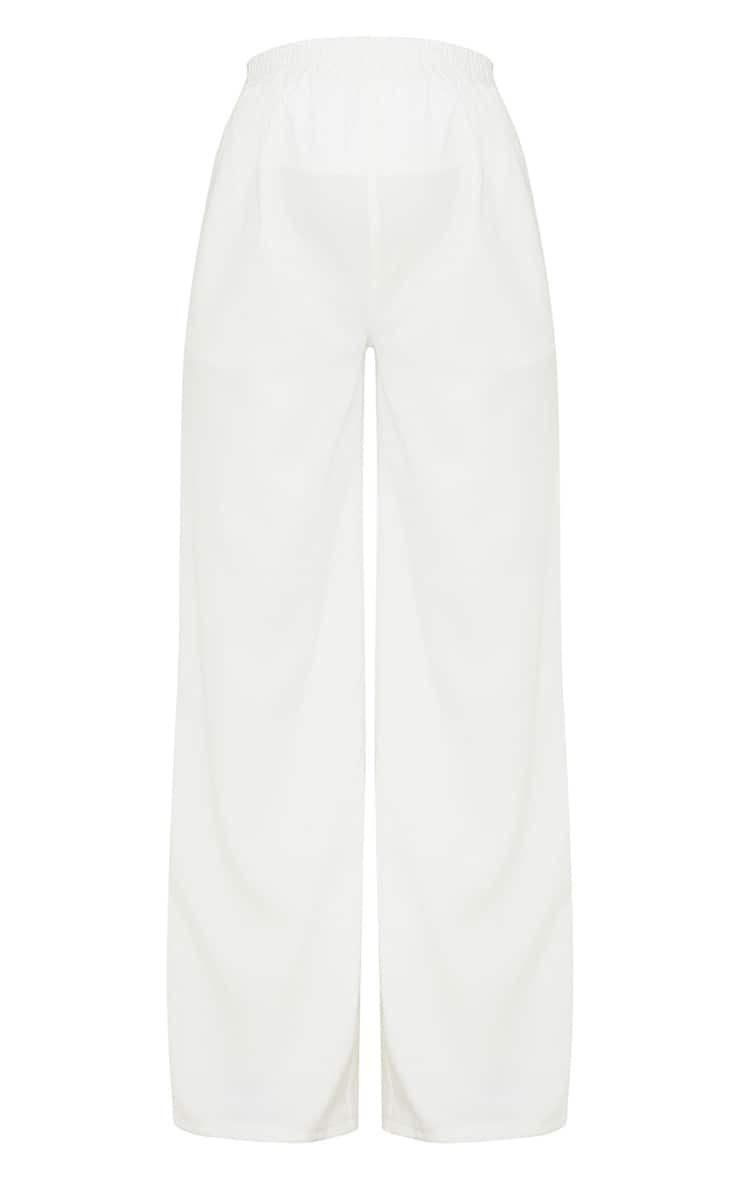 Maternity White Ruched Waist Wide Leg Pants 5