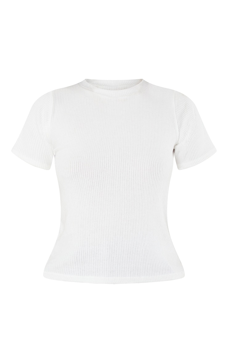 Cream Brushed Rib Short Sleeve Top 5