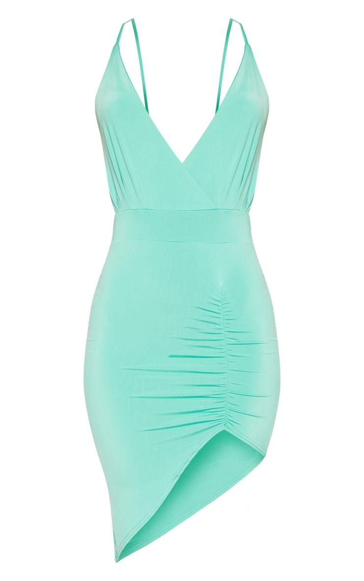 Turquoise Plunge Ruched Bodycon Dress 3