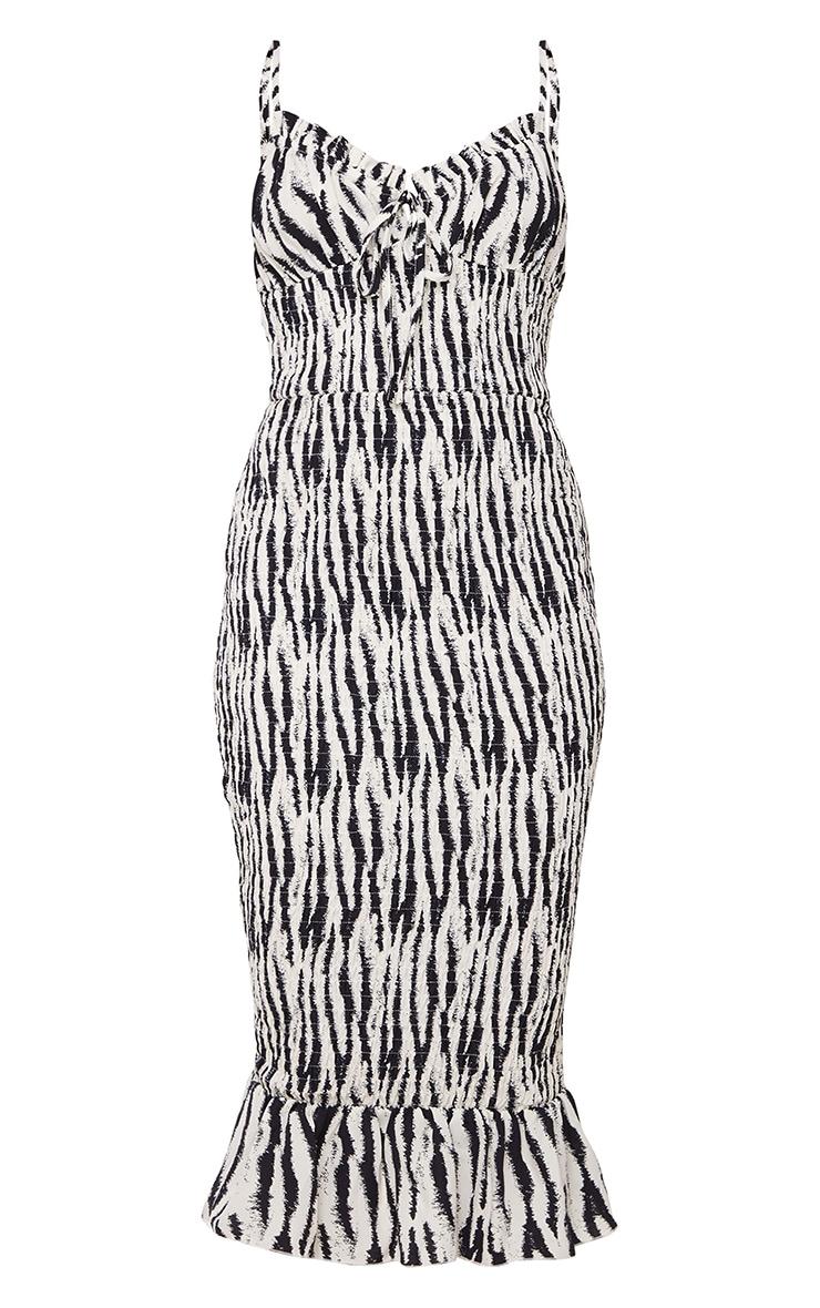 Monochrome Zebra Strappy Tie Detail Shirred Midi Dress 5