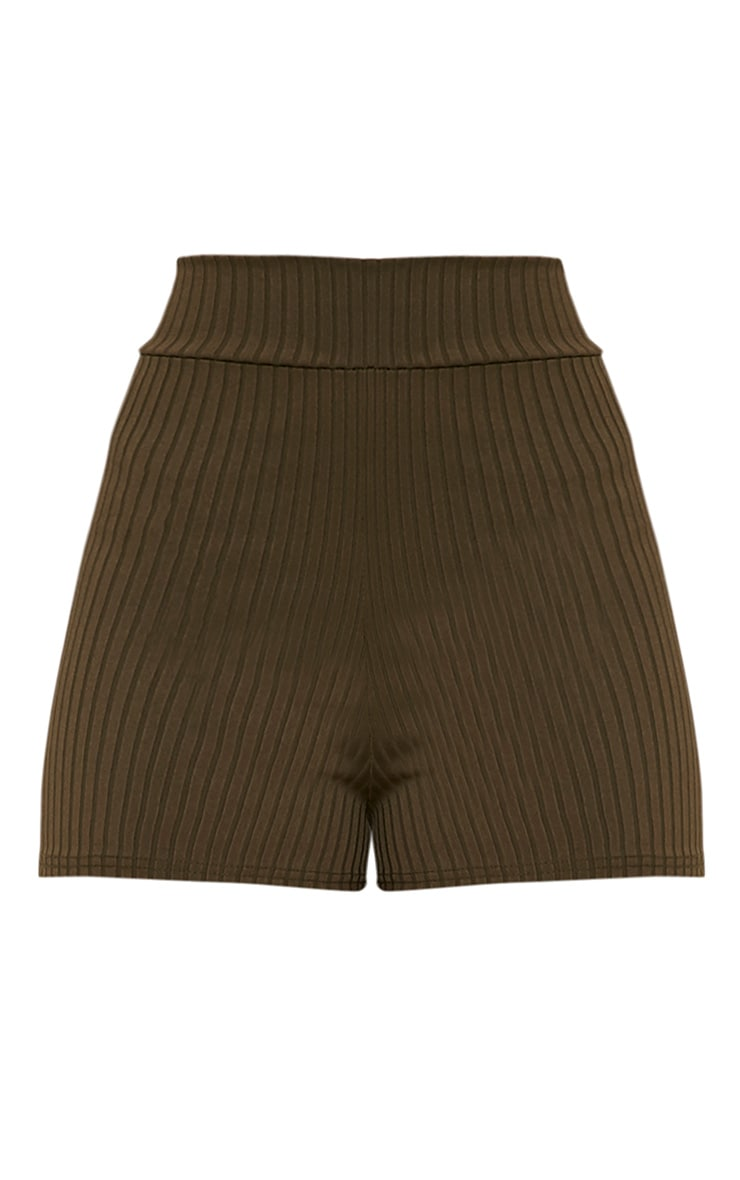 Janice Khaki Ribbed Shorts 3