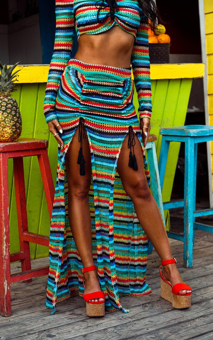 Multi Knit Double Split Beach Skirt 2