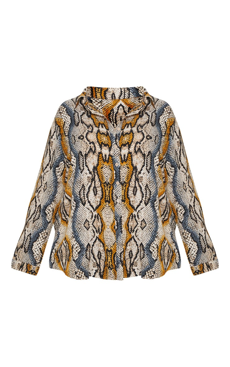 Plus Stone Snake Print Oversized Shirt 3