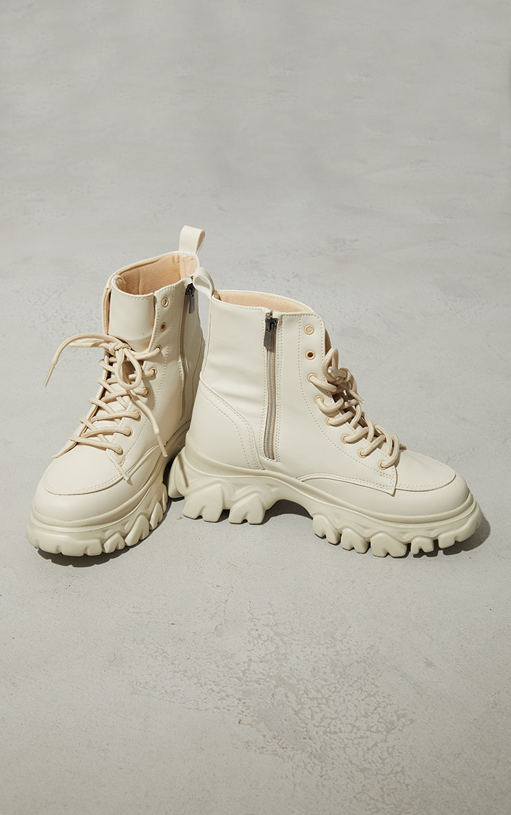 Sand PU Lace Up  Ankle Chunky Sole Hiker Trainers 4