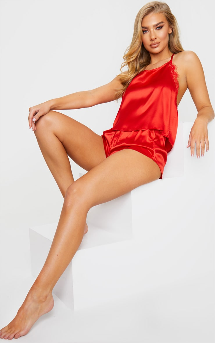 Red Lace Back Cami Satin Pj Set 3