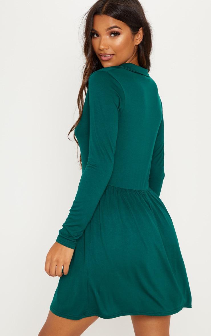 Emerald Green Tiered Long Sleeve Smock Dress 2