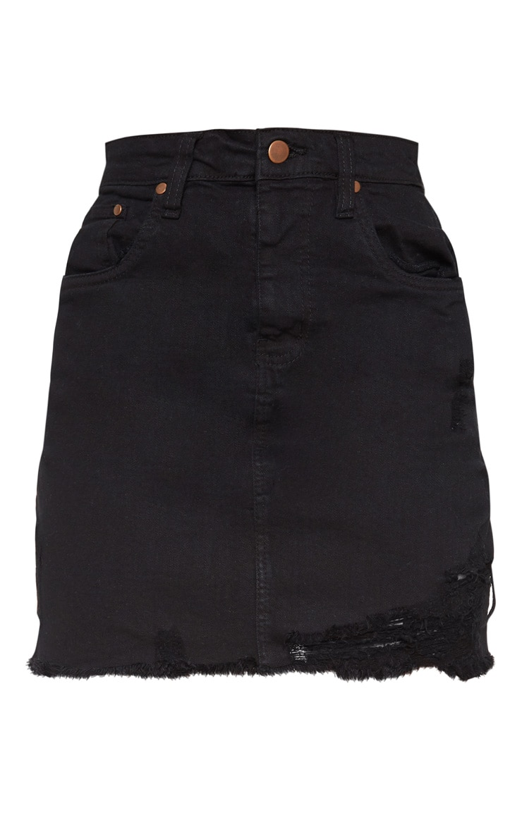 Petite Black Stretch Denim Skirt 3