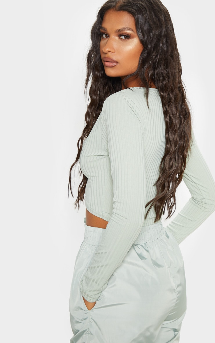 Sage Khaki Rib V Plunge Long Sleeve Crop Top 2