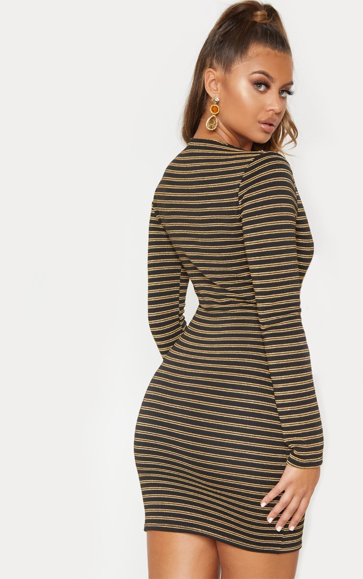 Gold Striped Plunge Bodycon Dress  3