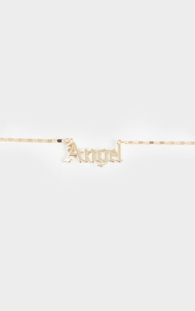 Gold Angel Font Necklace 3
